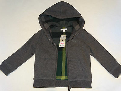 AUTH $175 BURBERRY Children Gray Hooded Lined Warm Hoodie Jacket Sz 5Y