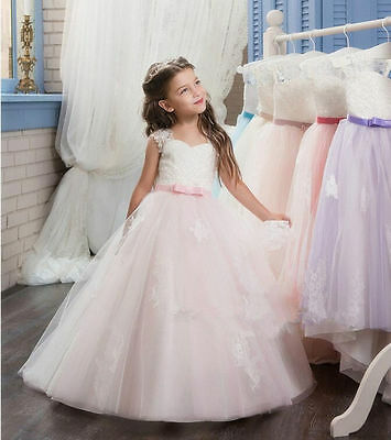 2017 lace Flower Girl Dress Princess Pageant Wedding Birthday Party Bridesmaid