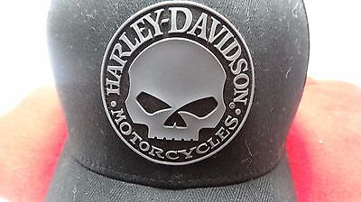 Harley Davidson ( S/m Size Fitted ) Large-Rubber-Skull-Patch-Hat-Cap-Nwt-Flexfit