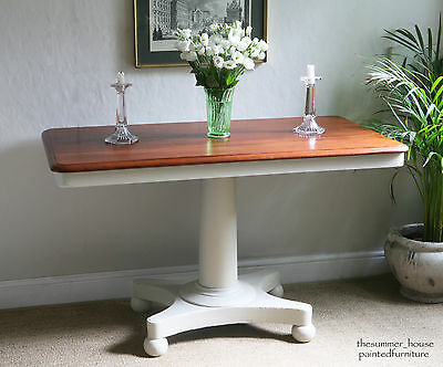 Lovely Antique Shabby Chic Pedestal Console Table Painted in Farrow & Ball