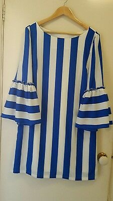 NEW Blue and White stripe shift dress with bell sleeve, size 12-14