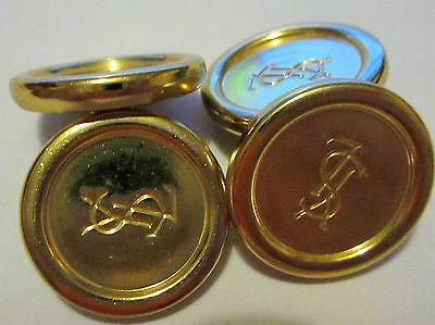 2 Pairs Collectible Gold Coloured Yves Saint Laurent YSL Metal Cufflink Buttons