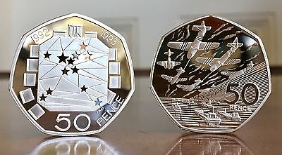 EEC/D-Day 1992-1994 Silver Proof Piedfort Two-Coin Set, With Box And Certificate