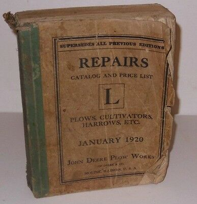 1920 LARGE Catalog Repair Parts Book John Deere tractor Plows Cultivator Harrows