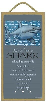 Advice from a Shark Inspirational Wood Nautical Animal Sign Plaque Made in USA
