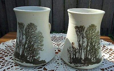 A Pair of Bev Butler Pottery Mugs Trees Australian Studio Pottery