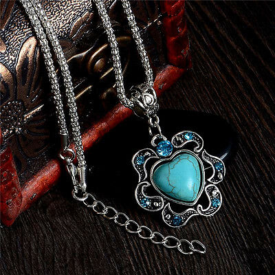 New Womens Tibetan Silver Heart Turquoise Necklace Pendant Jewellery Gift BNWT
