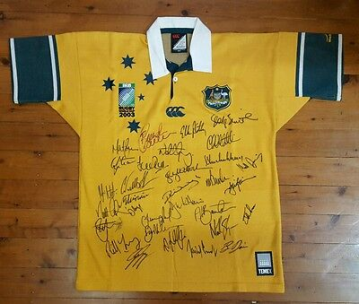 RARE - Wallabies 2003 World Cup Jersey Signed by the Full Squad including Coach