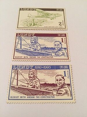 Lundy Stamp Undated Bleriot Anzani Plane Over Old Light Puffin