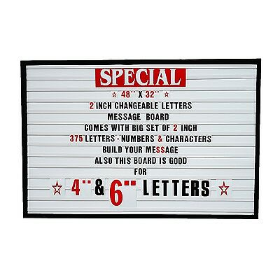 """Big Changeable 2"""" Letters Message Sign Menu Price Marquee Reader Board 48""""x 32"""""""