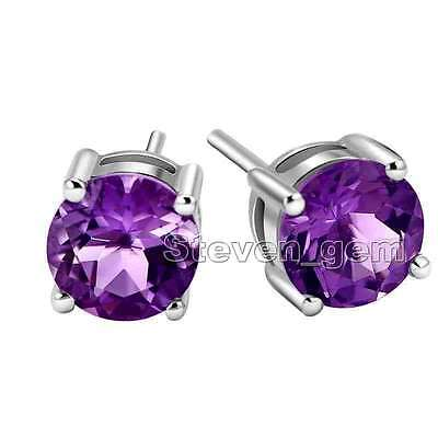 3mm Purple Zircon Four Claws Earrings for Women Silver S925 Stud Earring ear574