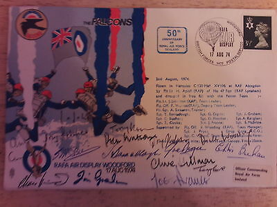 Rare SIGNED FIRST DAY COVER FALCONS - 50 ANNIVERSARY ROYAL AIR FORCE 17 AUG 1974