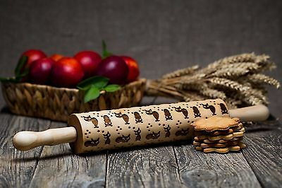 Wooden Rolling Pin Laser Engraved Rolling pin Embossed Dough Roller Cats Pattern