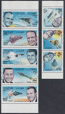 Qatar 1966 Space Full Set Mnh** Double Overprint Rrr Michel 266B/73B