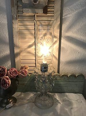 Beautiful Vintage Crystal Chandelier Style Table Lamp Spear Crystals