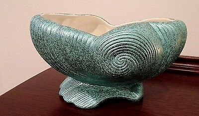 8 x 5 Shawnee Metallic Turquiose Shell Pottery Planter Stamped 1418