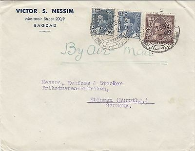 Iraq  1938   Judaica Three Color 15+2+50 Fil  Cover 'victor S.nessim' To Germany