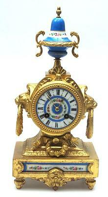 Rare Antique 8 Day French Gilt Spelter Mantel Clock & Sevres Panels & Sevres Top
