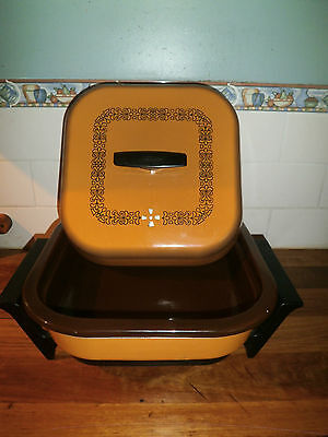 RETRO 1970's SUNBEAM FRYPAN WITH CROCK INSERT FOR SLOW COOKER ~ MUSTARD ENAMEL