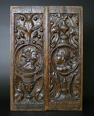 Very Fine Pair Of 16th Century Romayne Carved Oak Panels C1530