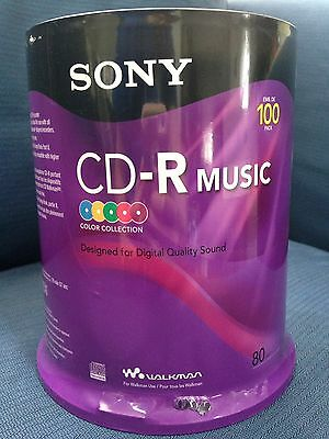 New 100 Pack Of Sony Blank Cd-R Music Cds Sealed In Original Packaging Quality