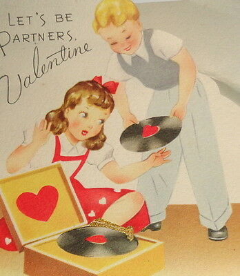"""Vintage Valentine greeting card, kids playing music record player,GB 5 1/2"""" used"""