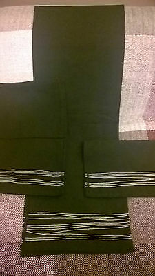 INDIAN 100% Cotton Black With White Abstract Stitching Table Runner & 6 Napkins