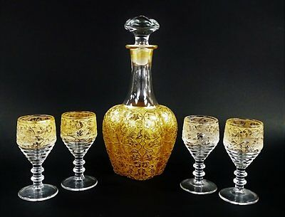 ANTIQUE MOSER GLASS CORDIAL SET. Heavy Gold in Floral & Bird Motif Decanter and