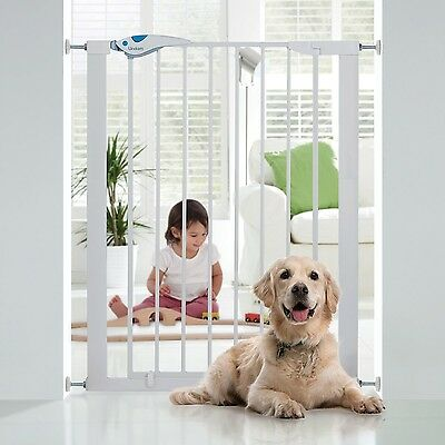 Baby Extra Tall Pressure Indicator Safety Gate Pet Dog Child Stair Barrier White