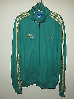 vintage Adidas green full zip track top jacket gold stripe DURHAM BOXING ACADEMY