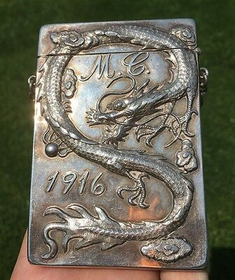 Antique Chinese Solid Silver Dragon Card Case c.1916