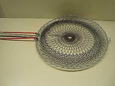 Wire Mesh Strainer  Collapsible Basket Red Double Handle & Pot Hook Vintage