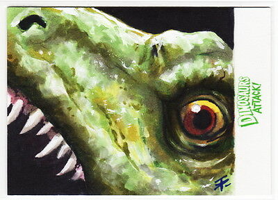 TOPPS MARS ATTACKS OCCUPATION Dinosaurs Attack Tim Proctor Painted Sketch Card