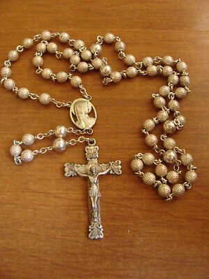 """Vintage Creed Sterling Silver Rosary Beautiful Condition 22.5"""" L"""