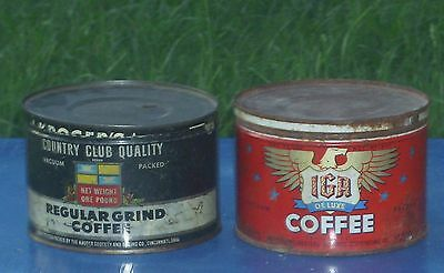 Lot of 2 Vintage IGA De Luxe Coffee & Kroger's Country Club~Coffee Can Tin