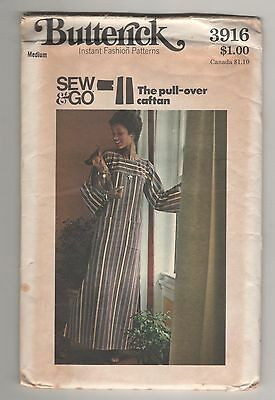 Vintage Butterick 3916 UNCUT Sewing Pattern Misses Pullover Caftan~Size Medium