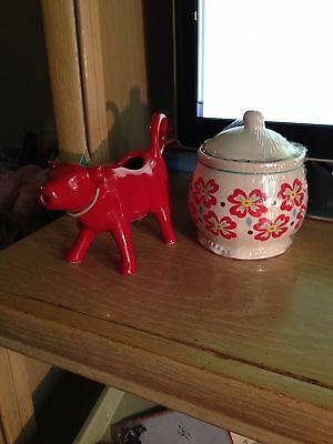 Pioneer Woman Red Cow Creamer and Matching Floral Sugar Bowl Stoneware set