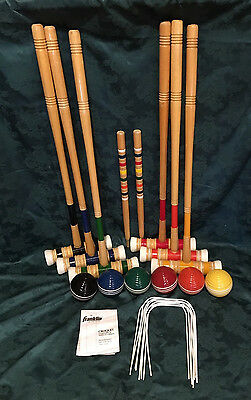 Deluxe Vintage Franklin  6 Player Solid Croquet Set Really Nice GREAT GIFT!