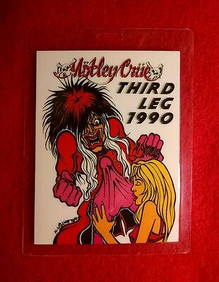 Very Rare Vintage 1990 Motley Crue World Tour Crew Pass. Third Leg 1990!!!