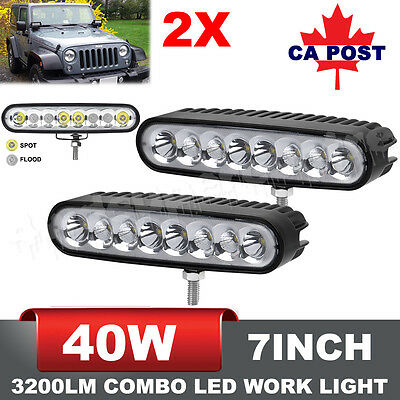 Pair 7 Inch 40W CREE LED Flood Spot Combo Work Light Bars Offroad 4WD Ellip Beam