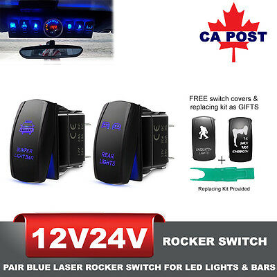 2x Blue Laser Rocker Switch w/ Replacing Kit for LED Work Light Bar 5Pins 12/24V