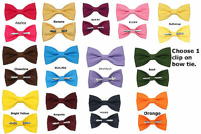 Choose 1 New Clip On Cotton Bow Tie Clip-On Solid Color Bowtie Men's or Boys