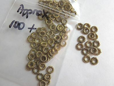 Pk 100 of 3mm metal gold spacer beads for jewellery making and design