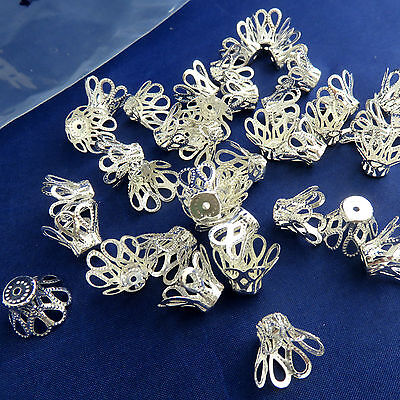 40 silver plate Filigree Bead End Caps 12 x15mm light weight make wrap jewellery