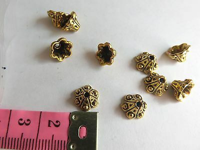 10 pcs Gold Colour Decorative bell shaped Bead Caps 10mm x 7mm jewellery