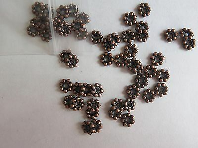 Pk 100 of 3mm Antique Copper/Bronze Daisy Spacer