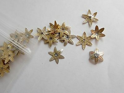 25 pcs Gold Colour Decorative star shaped Bead Caps 10mm x 2mm jewellery