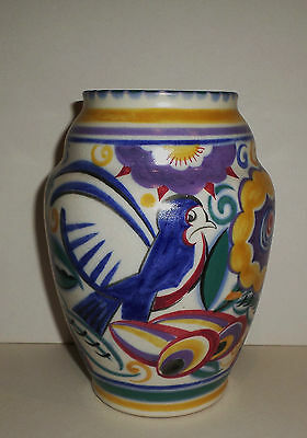 Art Deco Poole Pottery Comical Bluebird Vase Ruth Pavely Shape 439  7""