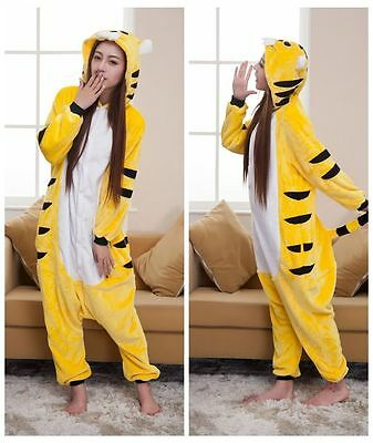 Yellow Tigger Pajamas Animal Unicorn Kigurumi Costume Unisex Adult Sleepwear