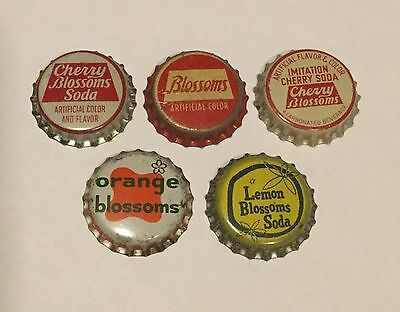 5 vintage Blossoms cork lined soda bottle caps 5 different